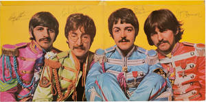 "Photo - This undated image provided by Heritage Auctions shows what is described as a ""pristine"" copy of The Beatles' ""Sgt. Pepper's Lonely Hearts Club Band"" album autographed by all four members of the band, that is up for auction. A statement from Dallas-based Heritage Auctions says the bidding for the album has passed $110,000 and could surpass $150,000 by the time bidding is closed on March 30. (AP Photo/Heritage Auctions)"