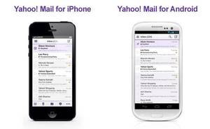 Photo - In this undated image made available by Yahoo the company's recently retooled free email service is shown on mobile devices. Aside from the new look aimed at regaining some of the ground Yahoo lost to Google's popular alternative, Yahoo introduced Tuesday, Dec. 11, 2012, email apps for the iPhone, iPad and mobile devices running on the new Windows 8 operating system. (AP Photo/Yahoo)