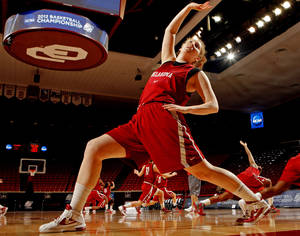 Photo - University of Oklahoma (OU) women's basketball player Joanna McFarland warms up during practice for first round of the NCAA Women's Basketball Championship Tournament at the Lloyd Noble Center on Saturday, March 17, 2012, in Norman, Okla.   Photo by Steve Sisney, The Oklahoman