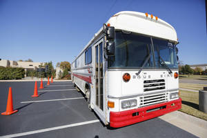 Photo - The Oklahoma Blood Institute will be donating this used bus to Centro Estatal de Transfusion Sanguinea in Chihuahua, Mexico.  Photo By Steve Gooch, The Oklahoman <strong>Steve Gooch</strong>