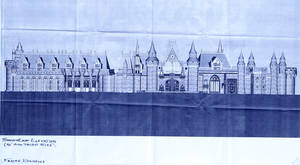 Photo -      Blueprint of south front elevation of the Frayer residence to be built in northeast Edmond.  Photos by Doug Hoke, The Oklahoman  <strong>DOUG HOKE - THE OKLAHOMAN</strong>