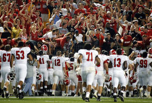 Photo -   Youngstown State fans attending the NCAA college football game against Pittsburgh cheer as the team come to them after they defeated Pittsburgh 31-17, Saturday, Sept. 1, 2012, in Pittsburgh. (AP Photo/Keith Srakocic)