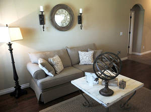 Photo - The living room of a Rausch Coleman Homes model at 11409 SW 24 in Canyon Creek addition. <strong>KT King - The Oklahoman</strong>
