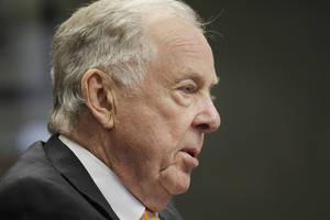 Photo - T. Boone Pickens addresses the energy writers and the editorial board of The Oklahoman, Thursday. Photos by Doug Hoke, The Oklahoman
