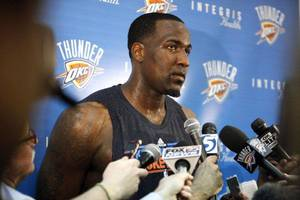 photo - Oklahoma City&#039;s Kendrick Perkins talks to the media at the the Thunder practice facility, Saturday, Feb, 26, 2011, in Oklahoma City.Photo by Sarah Phipps, The Oklahoman &lt;strong&gt;SARAH PHIPPS&lt;/strong&gt;
