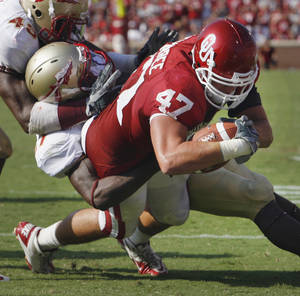 Photo - Trent Ratterree scored a touchdown against Florida State, but cant' get a scholarship at OU. Photo by Steve Sisney, The Oklahoman
