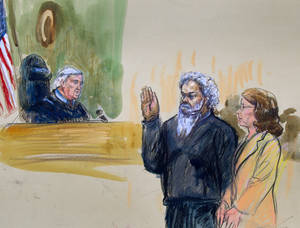 Photo - This artist's rendering shows United States Magistrate, Judge John Facciola, swearing in the defendant, Libyan militant Ahmed Abu Khatallah, wearing a headphone, as his attorney Michelle Peterson looks on during a hearing at the federal U.S. District Court in Washington, Saturday, June 28, 2014. The hearing of the Libyan accused of masterminding deadly Benghazi attacks, lasted ten minutes; he pled not guilty to conspiracy Saturday at his first appearance in U.S. court. (AP Photo/Dana Verkouteren)