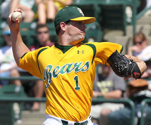 Photo - Baylor's Joey Hainsfurther starts against Texas A&M in an NCAA college baseball game on Sunday, April 22, 2012, in Waco, Texas. Baylor swept the three-game series. (AP Photo/Waco Tribune Herald, Jerry Larson) ORG XMIT: TXWAC105