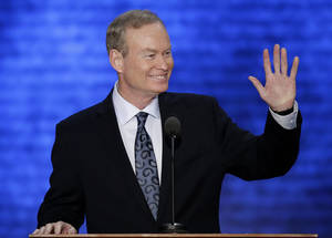 photo - Oklahoma City Mayor Mick Cornett waves to the Oklahoma delegation during his speech. AP PHOTO
