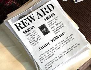 Photo - Reward poster for Jimmy Allen Williams, who was 16 when he disappeared from Sayre in 1970. <strong>David McDaniel - The Oklahoman</strong>