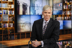 "Photo - This Feb. 24, 2013 photo released by NBC News shows moderator David Gregory on the set of ""Meet the Press,"" in Washington. NBC News President Deborah Turness said in a memo to the Sunday morning public affairs program staff members that she supports Gregory ""now and into the future."" Once the dominant Sunday morning program, ""Meet the Press"" has sunk behind competing shows by CBS and ABC in the ratings.  (AP Photo/NBC, William B.  Plowman)"
