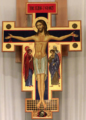 photo - Crucifix  above the main altar in St. Charles Borromeo Catholic Church in northwest Oklahoma City. Photo taken, Wednesday,  April 14, 2010.Some members of the parish say this image is offensive.  Photo by Jim Beckel, The Oklahoman