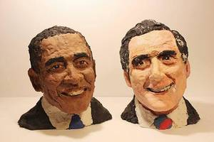 "Photo - With these Play-Doh sculptures of Barak Obama and Mitt Romney, Ian Williams was named ""Official Play-Doh Artist of the Year."" PHOTO PROVIDED. <strong></strong>"