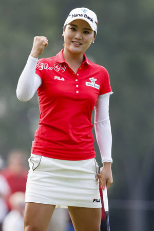 Photo - So Yeon Ryu, of South Korea, celebrates after sinking a birdie putt on the 17th hole during the final round of the Marathon Classic LPGA golf tournament at Highland Meadows Golf Club in Sylvania, Ohio, Sunday, July 20, 2014. (AP Photo/Rick Osentoski)