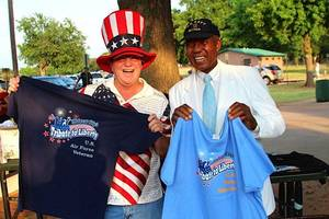 Photo - U.S. Air Force veteran Dave Sousa and U.S. Navy veteran John Windrow attend the annual Tribute to Liberty in Midwest City. PHOTO BY TIM RUNDEL, ASSISTANT CITY MANAGER <strong></strong>