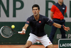 Photo - Serbia's Novak Djokovic returns the ball to Canada's Milos Raonic during their quarterfinal match of  the French Open tennis tournament at the Roland Garros stadium, in Paris, France, Tuesday, June 3, 2014. (AP Photo/Michel Spingler)