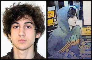 Photo - This combination of photos provided on Friday, April 19, 2013 by the Federal Bureau of Investigation, left, and the Boston Regional Intelligence Center, right, shows a suspect that officials have identified as Dzhokhar Tsarnaev, being sought by police in connection with Monday's Boston Marathon bombings. (AP Photo/FBI, BRIC)