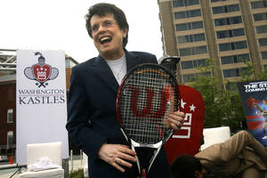 Photo - FILE - In this April 30, 2008 file photo, Billie Jean King laughs after helping to announce the site of a new stadium to host the Washington Kastles, the newest franchise of the World Team Tennis Pro League, in Washington. King's summer tennis league just got a boost from ESPN. World Team Tennis and ESPN agreed Tuesday, June 24, 2014, to a four-year deal to stream 20 matches live annually on ESPN3 and show the final July 27 on ESPN2. (AP Photo/Jacquelyn Martin, File)