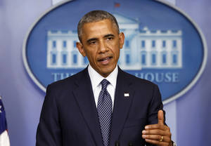Photo - President Barack Obama speaks about the Israel Palestinian conflict and escalating sanctions against Russia in response to the crisis in Ukraine in the James Brady Press Briefing Room at the White House in Washington, Wednesday, July 16, 2014. (AP Photo/Charles Dharapak)