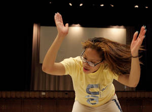 Photo - Senior Gabrielle Gobley dances during the Star Spencer High School stomp team practice in Spencer, Okla., Tuesday, Feb. 28, 2012. Photo by Bryan Terry, The Oklahoman