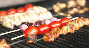 Photo - Kabobs on the grill in Oklahoma City, Friday, May 25, 2012. Photo by Nate Billings, The Oklahoman