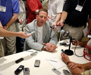 Photo -  Nebraska head coach Bo Pelini talks with the media during the Big 12 Conference Football Media Days in Irving, Texas, Monday, July 27, 2009. Photo by Bryan Terry, The Oklahoman