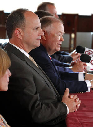 photo - University of Oklahoma athletic director Joe Castiglione, and University President David L. Boren hold a press conference in the Kerr-KcGee Stadium Club at the University of Oklahoma on Thursday, September 22, 2011,  Norman, Okla.   Photo by Steve Sisney, The Oklahoman ORG XMIT: KOD