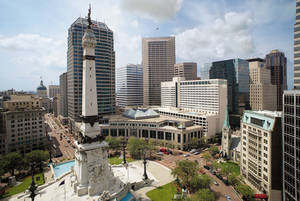 Monument Circle in Indianapolis is an example of traffic circles and roundabouts in the United States that have iconic public art as the centerpiece.  PHOTO PROVIDED by Harold Miller, Downtown Indianapolis Inc.