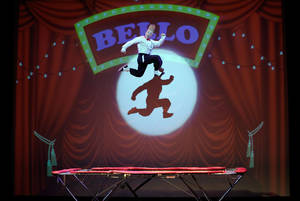 """Photo - This March 23, 2013 photo shows performer Bello Nock jumping on a trampoline as he performs during his """"Bello Mania"""" show at the New Victory Theater in New York. Nock, a seventh-generation circus performer, is never offstage during the 90-minute performance, which combines slapstick clowning with death-defying aerial stunts. He performs through March 31 at the New Victory before moving on to the Canadian side of Niagara Falls and then a 10-week stint at the Beau Rivage Casino in Biloxi, Miss.   (AP Photo/Richard Drew)"""