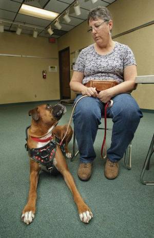photo - Lou Ann Tucker and Gus, her service animal boxer. Photo by Steve Sisney, The Oklahoman  <strong>STEVE SISNEY</strong>