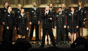 Photo -  The U.S. Navy Band Sea Chanters Chorus performs at First Presbyterian Church on Monday. The chorus performed as a part of the Kemp Concert Series dedicated to John and Helen Kemp. Photo by K.T. King, The Oklahoman  <strong>KT King -   </strong>