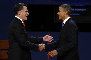 Photo -   Republican presidential nominee Mitt Romney and President Barack Obama shake hands before the first presidential debate at the University of Denver, Wednesday, Oct. 3, 2012, in Denver. (AP Photo/Charlie Neibergall)