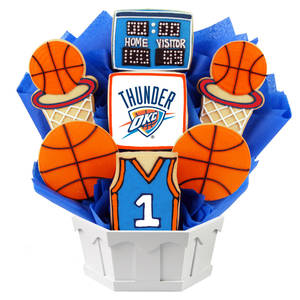 Photo - An Oklahoma City Thunder-themed cookie basket from Cookies by Design.Photo PROVIDED
