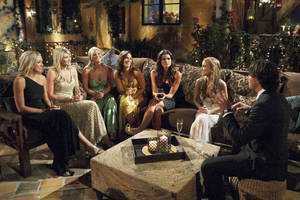 "Photo -   In this 2011 photo released by ABC, bachelor Ben Flajnik, right, gets to know bachelorettes during the taping of the latest season of the romance competition series ""The Bachelor,"" in Westlake, Calif. (AP Photo/ABC, Rick Rowell)"