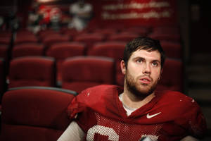 photo - University of Oklahoma football player Gabe Ikard talks with the media in Norman. Photo by Sarah Phipps, The Oklahoman archives