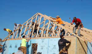 Photo - Volunteers work on framing for a house for the Knox family in Carney built by Central Oklahoma Habitat for Humanity. <strong> - PROVIDED BY STILLWATER HABITAT F</strong>