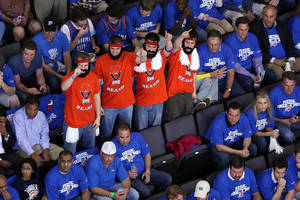 Photo -  James Harden fans wear distinctive T-shirts and fake beards during the Oklahoma City Thunder game vs. the Los Angeles  Lakers on April 22, 2010. <strong>HUGH SCOTT - THE OKLAHOMAN</strong>