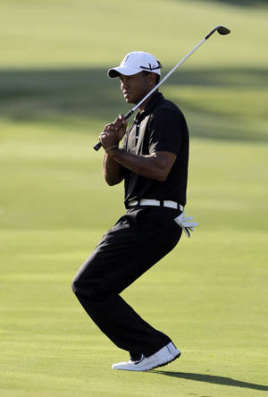 Photo -   Tiger Woods reacts to missed shot on the 16th hole during the second round of the Players Championship golf tournament at TPC Sawgrass, Friday, May 11, 2012, in Ponte Vedra Beach, Fla. (AP Photo/John Raoux)
