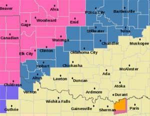 Photo - Watches and warnings for Oklahoma.