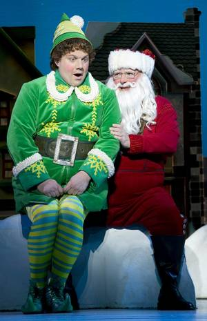 "Photo -   This theater image released by The Hartman Group shows Jordan Gelber, left, and Wayne Knight during a performance of the musical ""Elf,"" in New York. (AP Photo/The Hartman Group, Joan Marcus)"