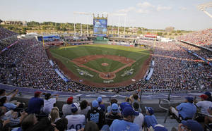 photo - Fans watch the first inning of the MLB All-Star baseball game at Kauffman Stadium on Tuesday, July 10, 2012, in Kansas City, Mo. (AP Photo/Kiichiro Sato) ORG XMIT: MOKS181