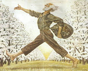 Photo - An illustration in The Saturday Evening Post showing American folk hero Johnny Appleseed is part of the collection at the Johnny Appleseed Educational Center and Museum at Urbana University in Ubana, Ohio on Friday, July 18, 2014. An anonymous donation is allowing the museum to create a traveling exhibit to clear up misconceptions and tell the story of the man behind the legend. (AP Photo/Mike Munden)