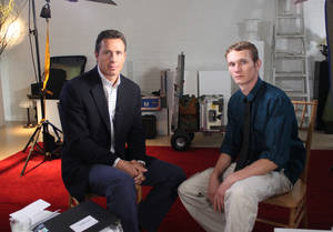 "Photo -   This undated image released by ABC shows ABC News' Chris Cuomo, left, with Aaron Fisher, 18, a victim of former Penn State assistant football coach Jerry Sandusky during an interview airing Friday, Oct. 19, 2012 on the news magazine show ""20/20,"" at 10 p.m. EST on ABC. Sandusky wants his child sexual abuse charges tossed out ""and/or"" a new trial, saying the statute of limitations had run out for many of the 45 counts for which he was convicted in June. Currently in a county jail near State College, he is awaiting transfer to the state prison system to begin serving a 30- to 60-year sentence. Fisher said he was 11 when he met Sandusky and was abused during weekend visits at the Sandusky home. (AP Photo/ABC News)"