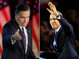 Photo -   In this photo combo, Republican presidential candidate, former Massachusetts Gov. Mitt Romney gestures to supporters during his election night rally in Boston, left, and President Barack Obama waves to the crowd of supporters at his election night party in Chicago, Wednesday, Nov. 7, 2012. Obama defeated Romney to win a second term. (AP Photos)