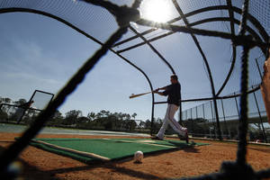 Photo - Baltimore Orioles' Chris Davis takes batting practice during the team's first full-squad workout of baseball spring training in Sarasota, Fla., Wednesday, Feb. 19, 2014. (AP Photo/Gene J. Puskar)