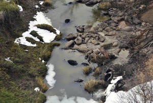 Photo - FILE - This Oct. 10, 2013 file aerial photo shows dead cattle in Sulphur Creek in western South Dakota during a flyover of areas hard hit by a snowstorm that killed thousands of animals. In a progress report Wednesday, July 9, 2014, the U.S. Department of Agriculture says farmers and ranchers who suffered heavy livestock and grazing losses due to extreme weather in the past three years have been quick to take advantage of newly available disaster relief funds. The agency said it has distributed more than $1 billion in relief funds, a little less than half the overall amount predicted in the recently passed farm bill, in just over three months. The agency estimates it will spend $2.5 billion overall on disaster relief cases from 2011 to 2014. (AP Photo/KOTA-TV, Pool, File)