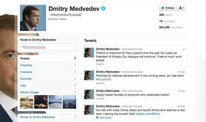 "Photo -   This is a screenshot taken from Dmitry Medvedev's Twitter page Monday May 7, 2012. Dmitry Medvedev, Russia's one-time tweeter-in-chief, was characteristically modest and a little flat when his term as president came to an end Monday: ""Thanks to everyone who showed me support in four years in the post of Russian president. We'll continue our contact. There's a lot of work ahead,"" he tweeted an hour after Vladimir Putin was inaugurated as his replacement. It was the end of an era, the kind of moment when a Twitter buff might unleash a barrage of 140-character spurts of sentiment, humor or self-aggrandizement. (AP Photo/Twitter)"