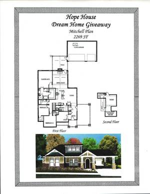 Photo -  These are the plans for a home the HOPE Center of Edmond and McCaleb Homes will give away. The home is being built in Town Square, a housing addition off Danforth Road, between Coltrane and Sooner roads. DRAWING PROVIDED  <strong></strong>