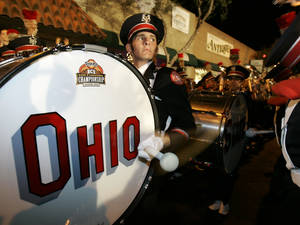 Photo - The Ohio State band performs at a fan rally before the BCS Championship Game in 2007. AP Archive Photo