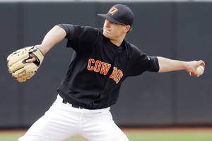 photo - OSU&#039;s Tyler Lyons (13) pitches during the Big 12 college baseball game between Nebraska and Oklahoma State University at Allie P. Reynolds Stadium in Stillwater, Okla., Saturday, April 3, 2010. Nebraska beat OSU, 9-2. Photo by Nate Billings, The Oklahoman ORG XMIT: KOD